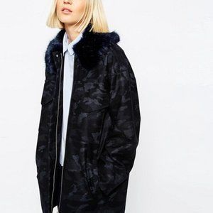 ASOS WHITE Camo Coat with Faux Fur Collar
